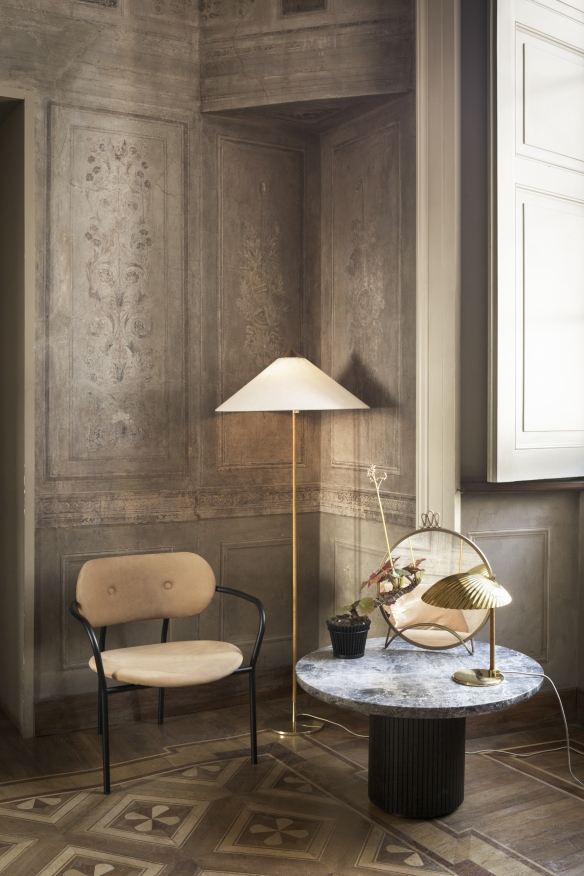 CocoDiningArmchair_9602FloorLamp_MoonCoffeeTable_MategotFlowerPot_RandaccioWallMirror_5321TableLamp