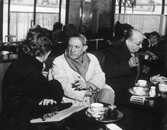 Picasso no café de flore reprodução